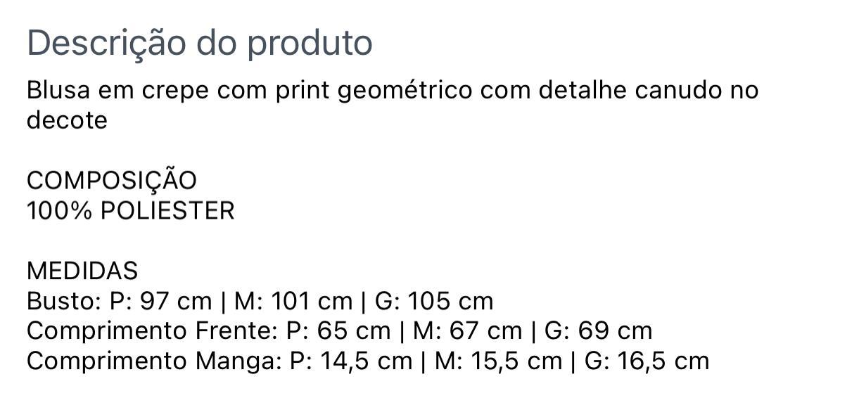 Blusa Crepe Print Canudo