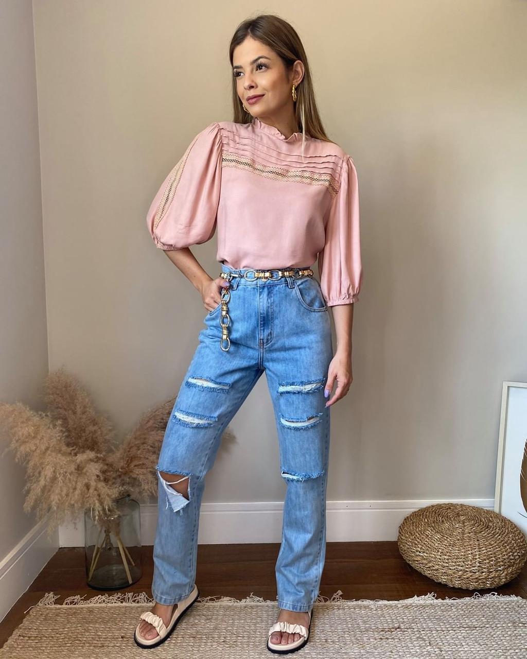 Calça Mom Jeans Giletada