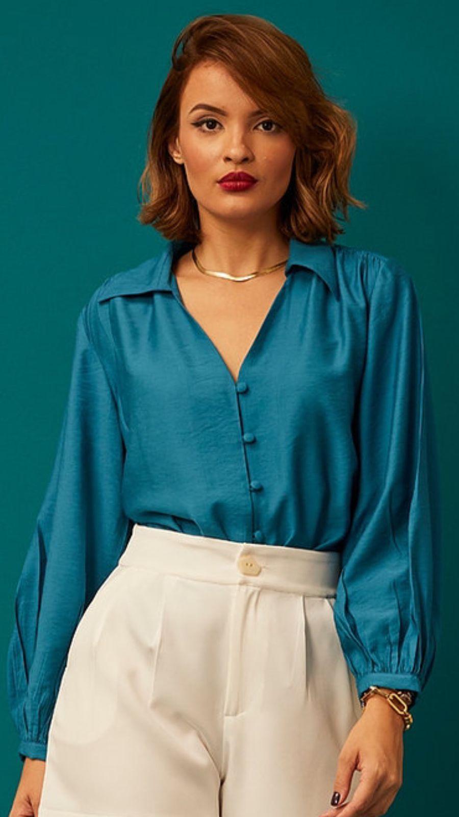 Camisa Botões Azul