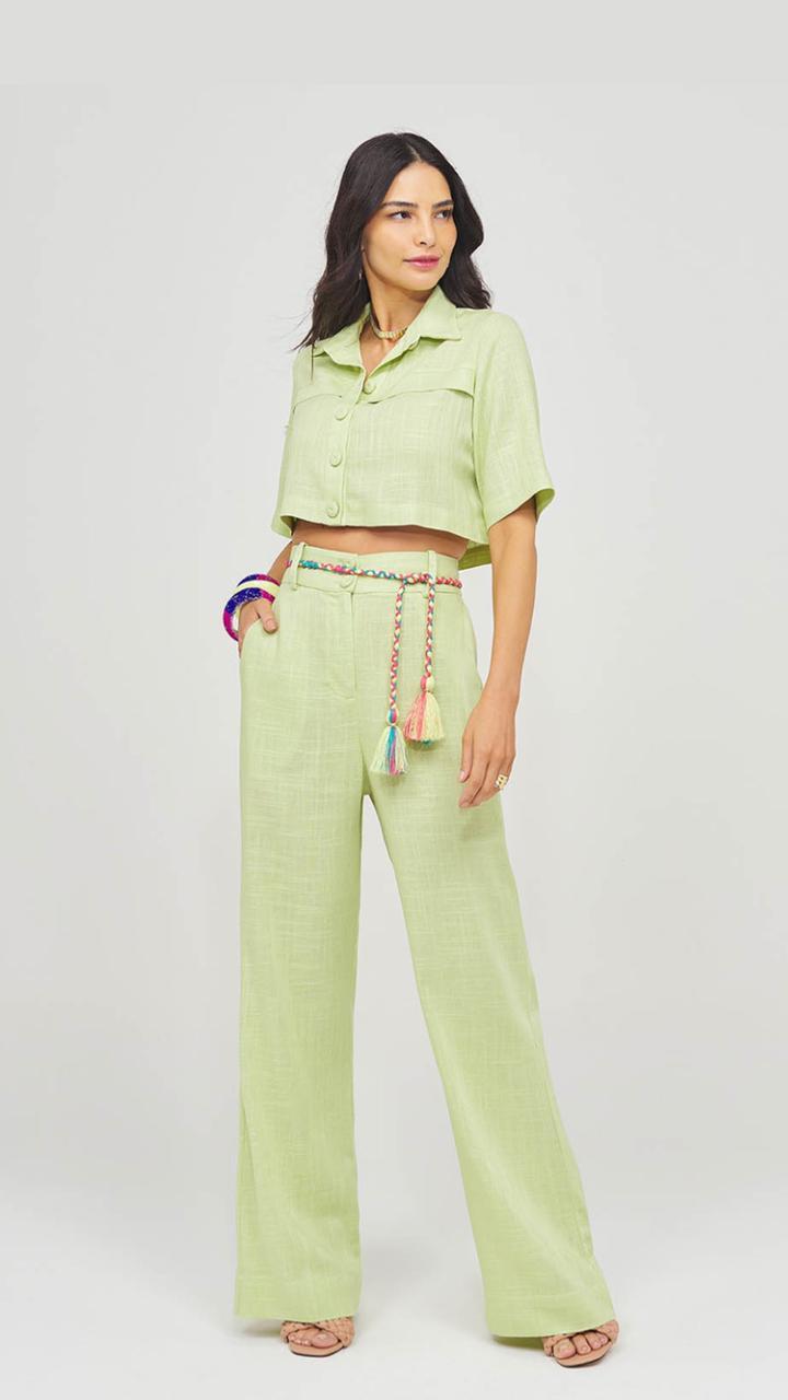 Conjunto Camisa e Calça Linho Verde