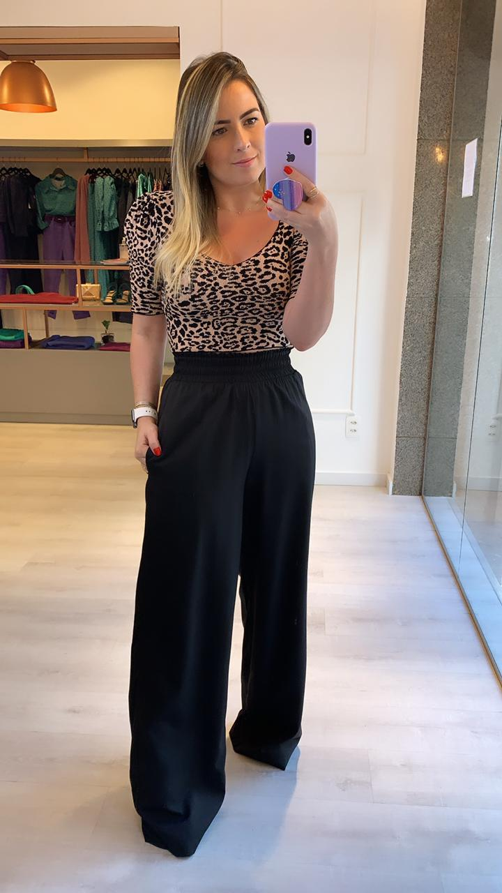 Cropped Tricot Animal Print