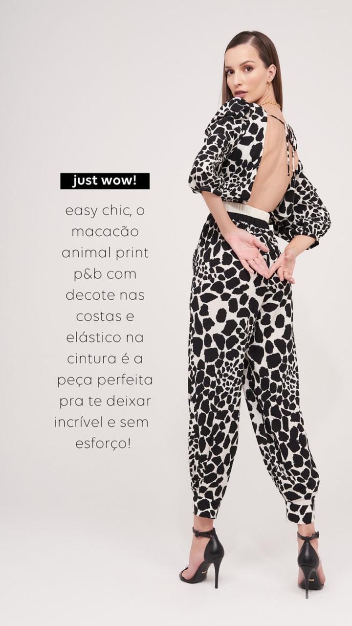 Macacão Animal Print P&B