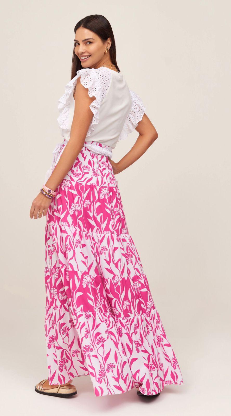 Saia Longa Floral Pink