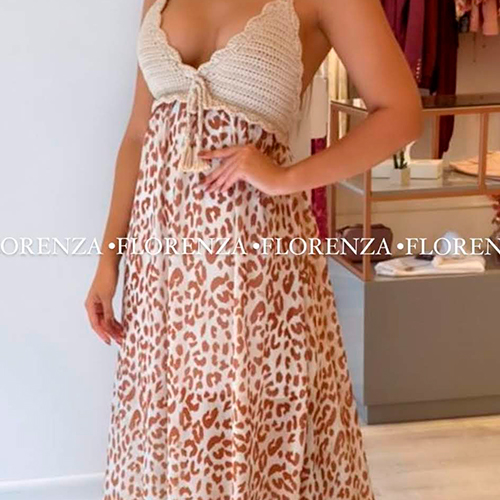 Vestido Animal Print Crochê