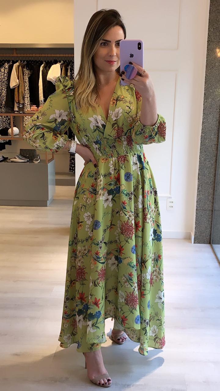 Vestido Estampado Midi