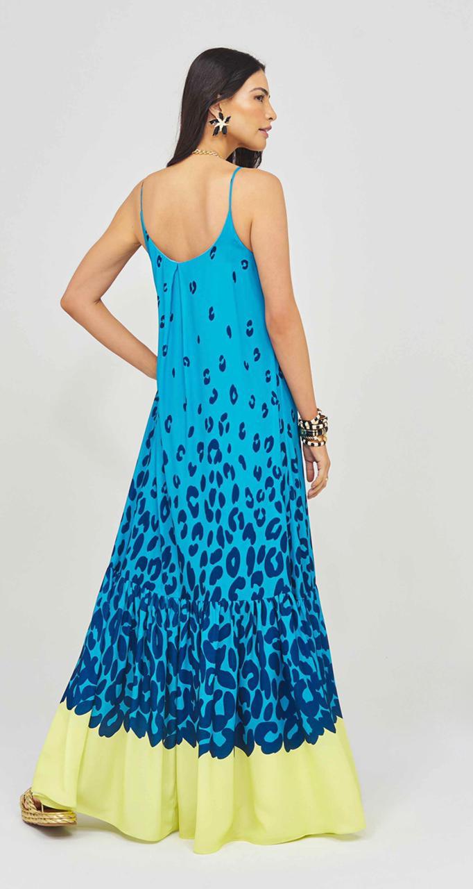Vestido Longo Onça Azul