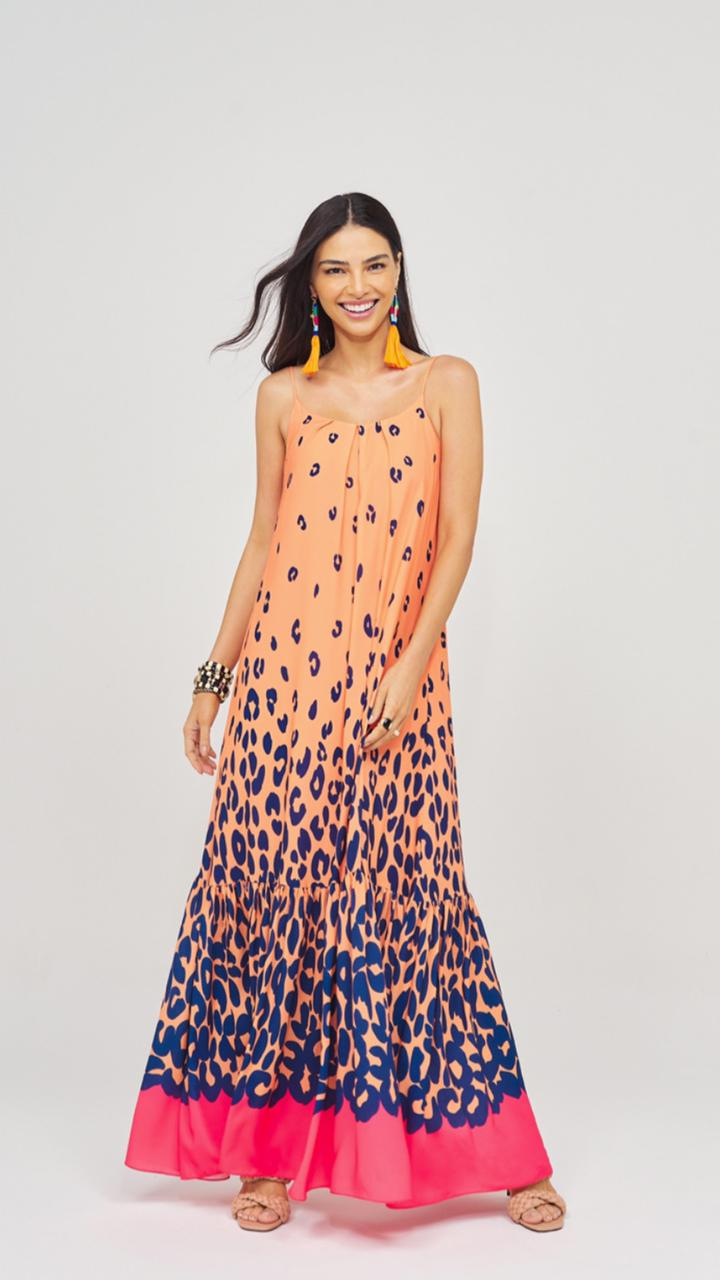 Vestido Longo Onça Tangerina