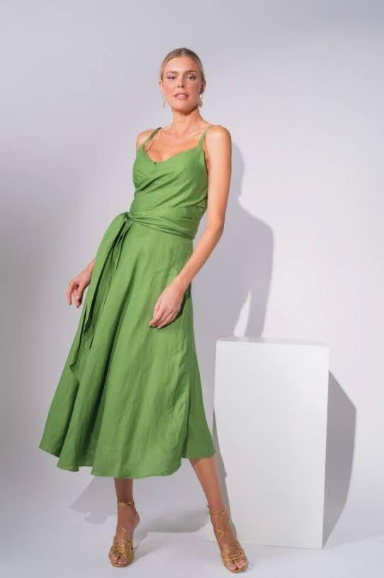 Vestido Transpassado Linho