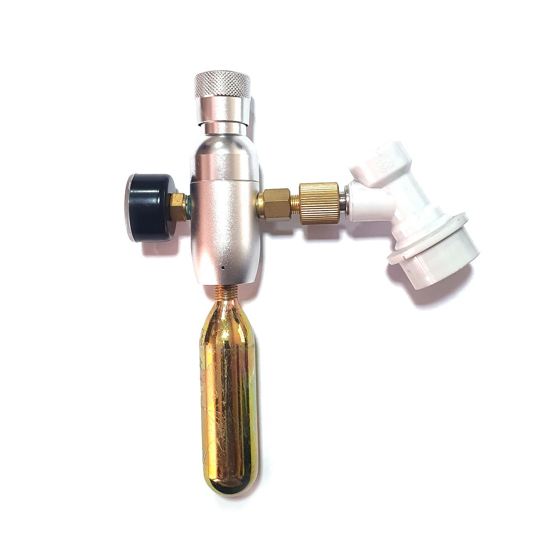 Mini Regulador Co2 Ball Lock P/ Gás Com Rosca + Capsula 16gr