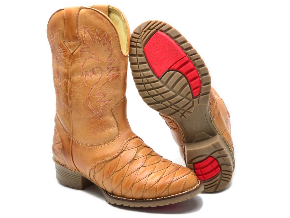 Bota Texana Masculina Country Com Forro em Couro e Palmilha Gel 901 Cla-Cle
