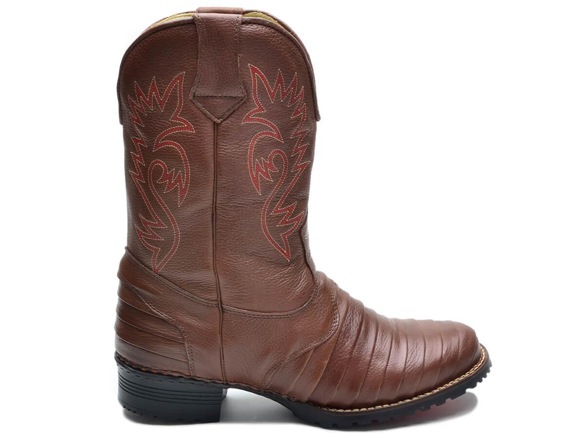Bota Texana Masculina Country Com Forro em Couro e Palmilha Gel 902 Cla-Cle