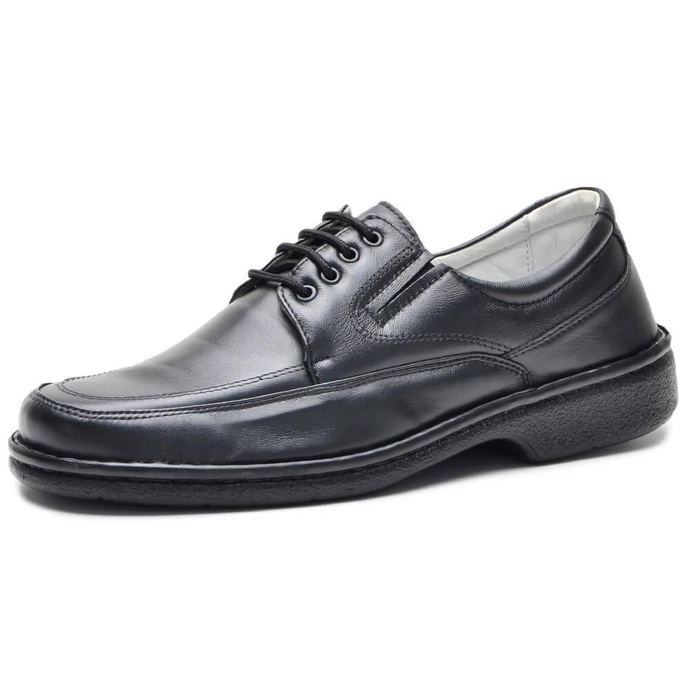 Sapato Social Preto Confort Com Cadarço CR-1004 Cla-Cle