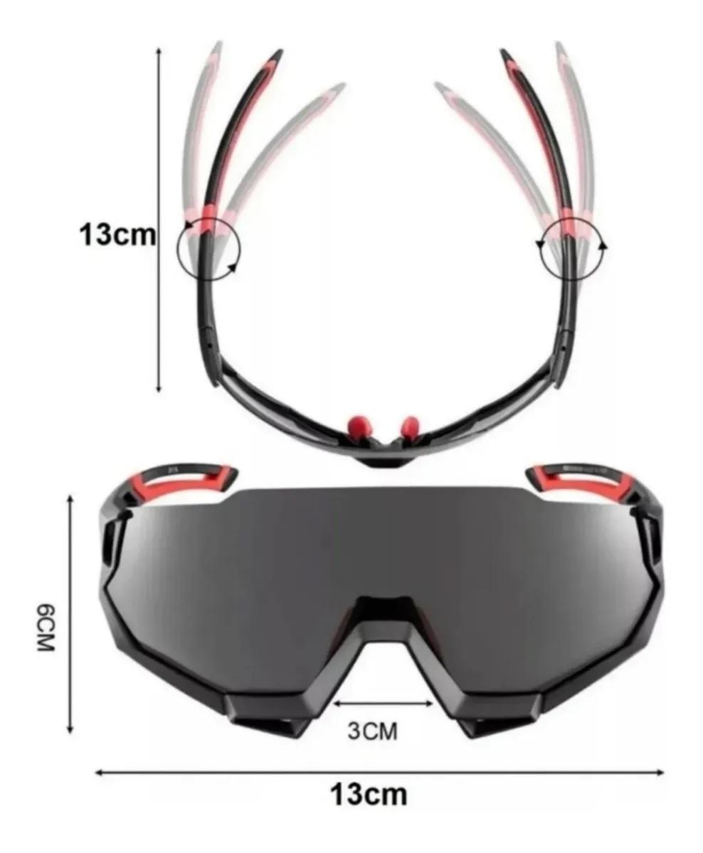 Óculos Ciclismo Rockbros Verde Clip Lente Grau Mais 5 Lentes