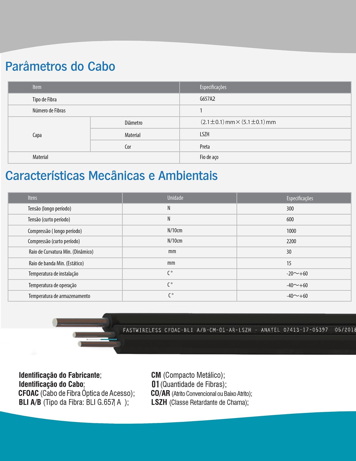Cabo Drop FTTH 1 Fibra FastWireless CFOAC-BLI A/B-CM-01-AR-LSZH (1KM)  - FASTWIRELESS