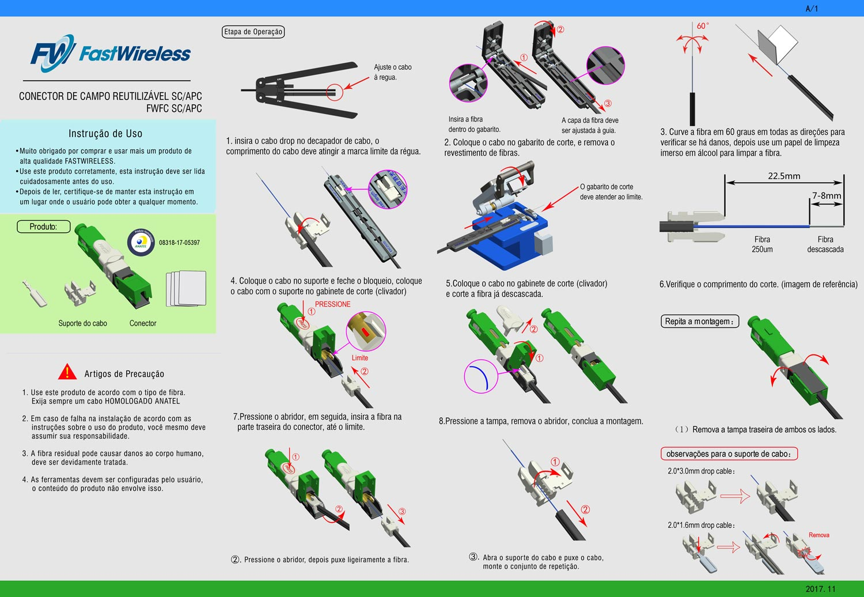 Conector de Campo / Fast Connector SC APC - Linha FTTx Fastwireless VERDE  - FASTWIRELESS