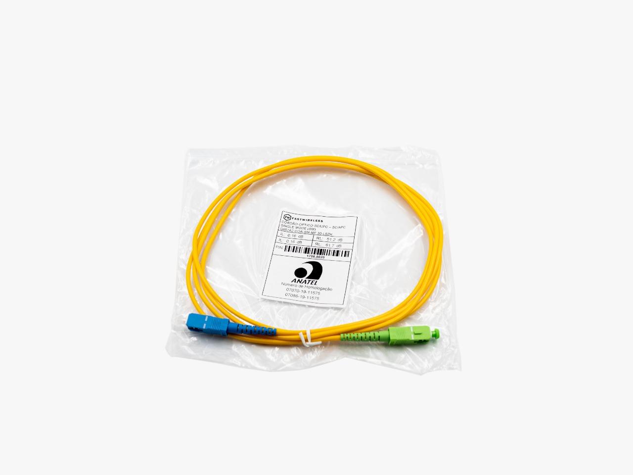 Patch Cord Fibra SC/UPC SC/APC SM SX 3.0MM 2MTS C/ 10  Azul Verde  - FASTWIRELESS