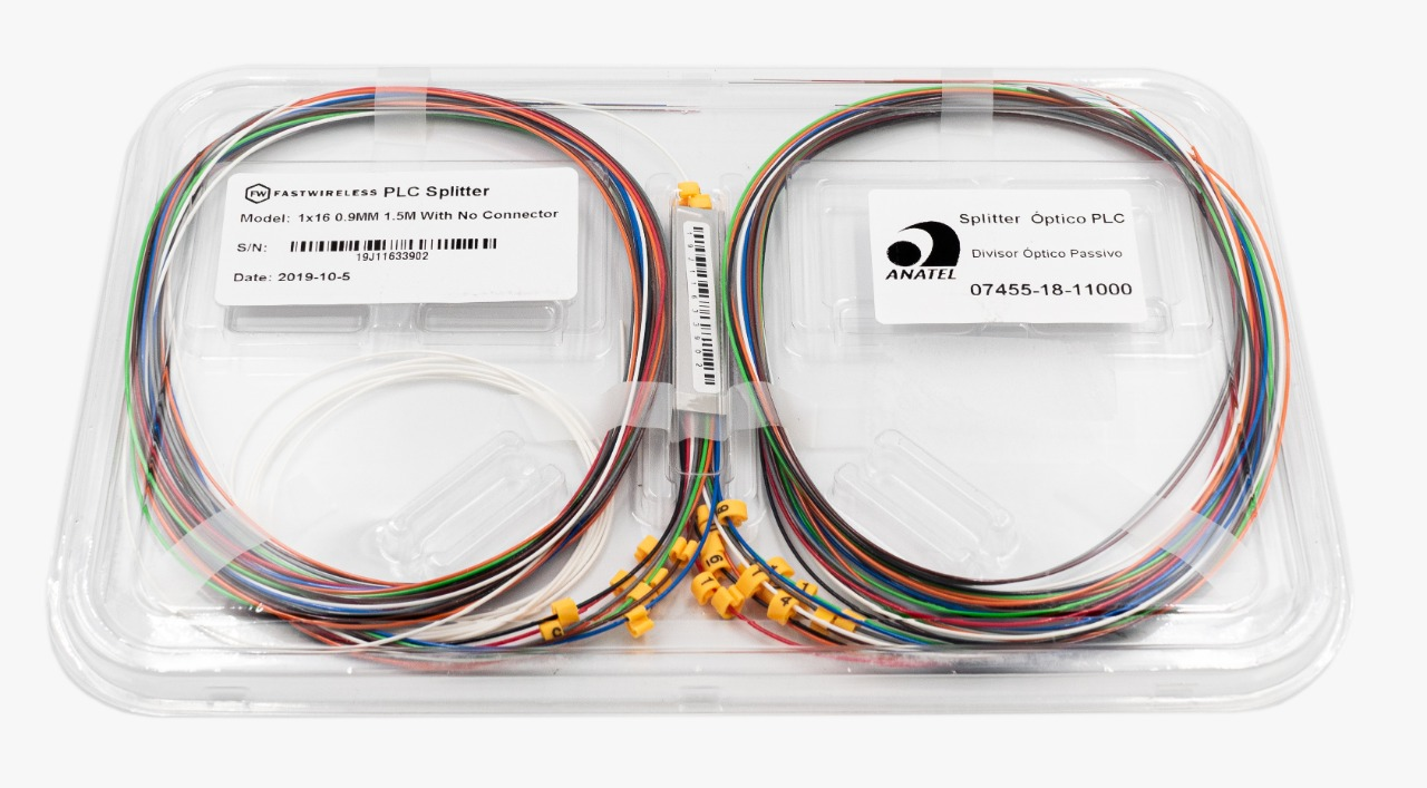 Splitter Óptico PLC 1x16 Desconectorizado  - FASTWIRELESS