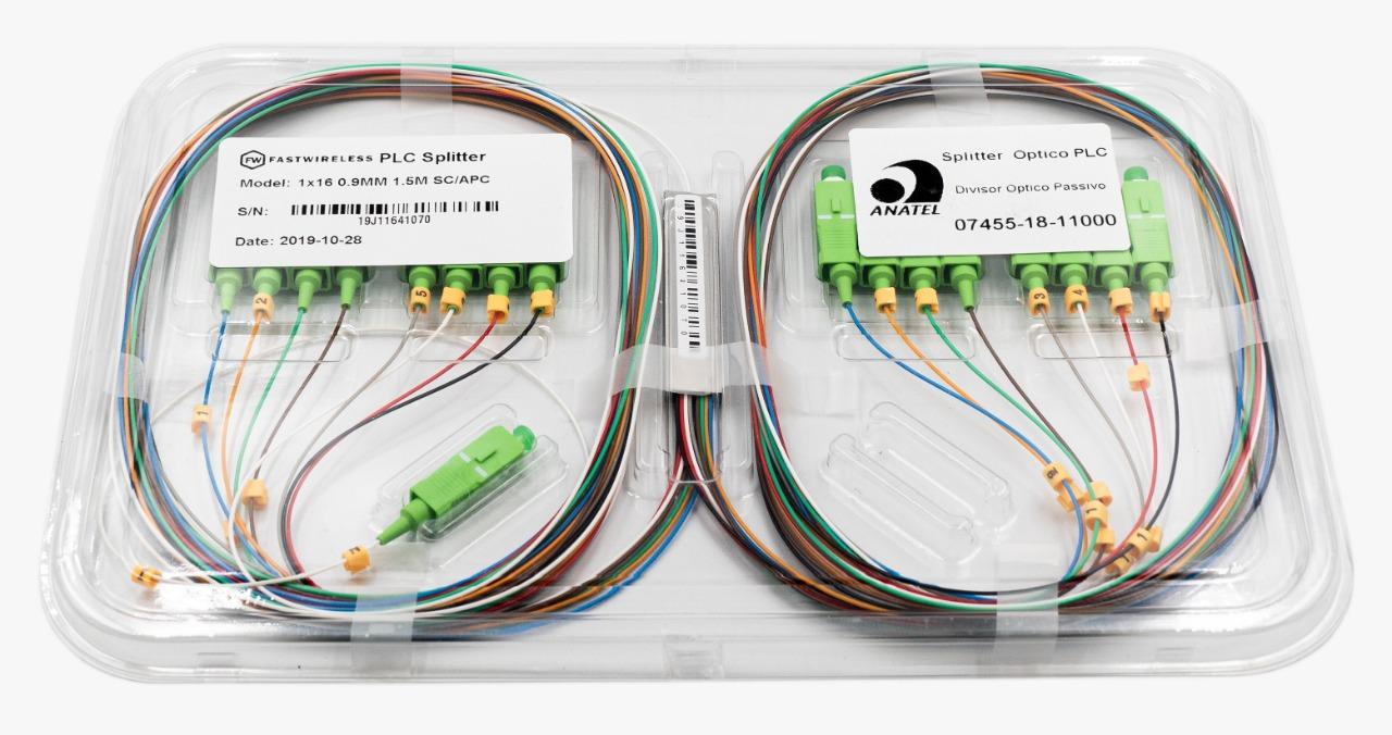 Splitter Óptico PLC 1x16 SC/APC Verde  - FASTWIRELESS