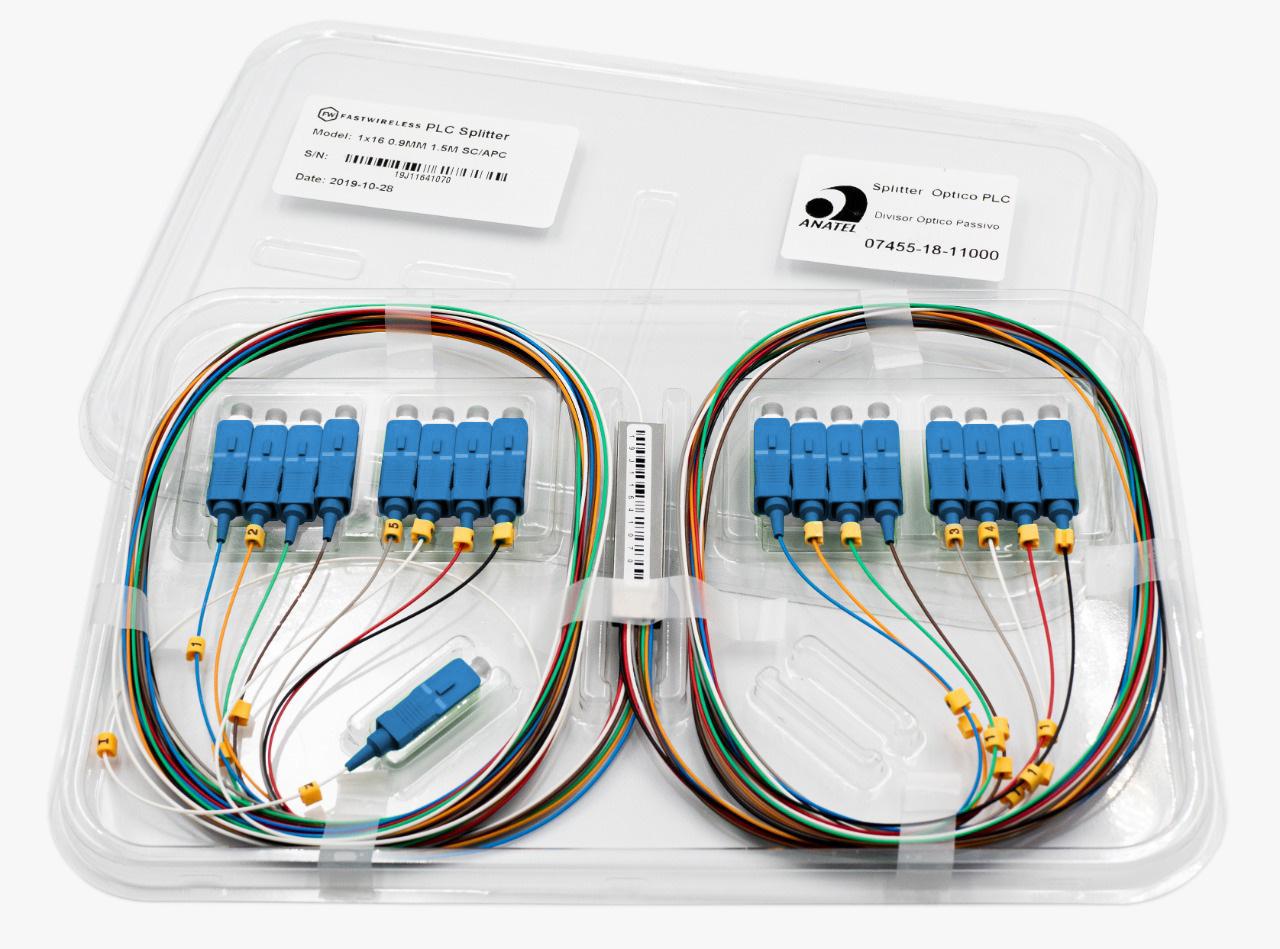 Splitter Óptico PLC 1x16 SC/UPC Azul  - FASTWIRELESS