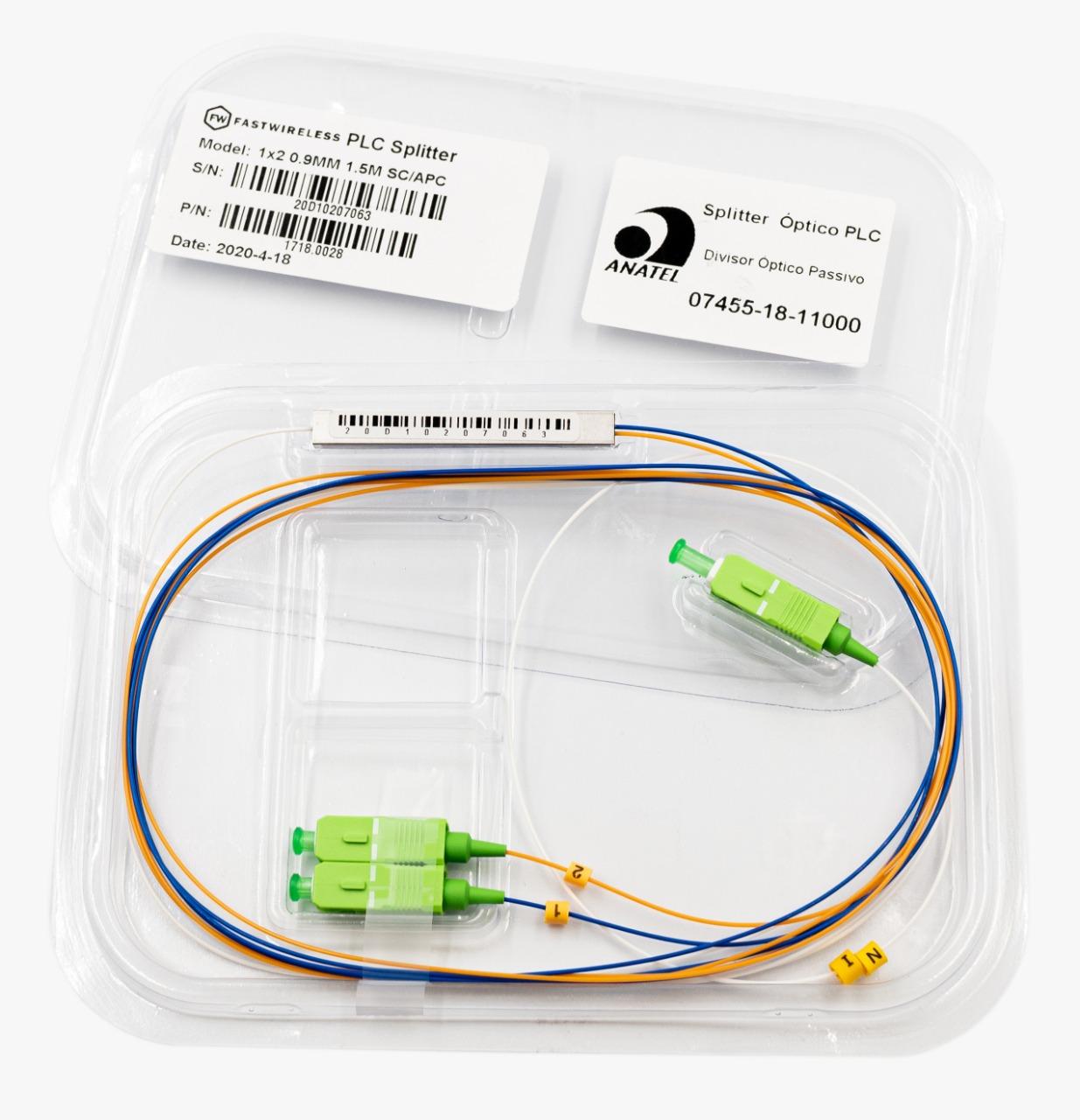Splitter Óptico PLC 1x2 SC/APC Verde  - FASTWIRELESS