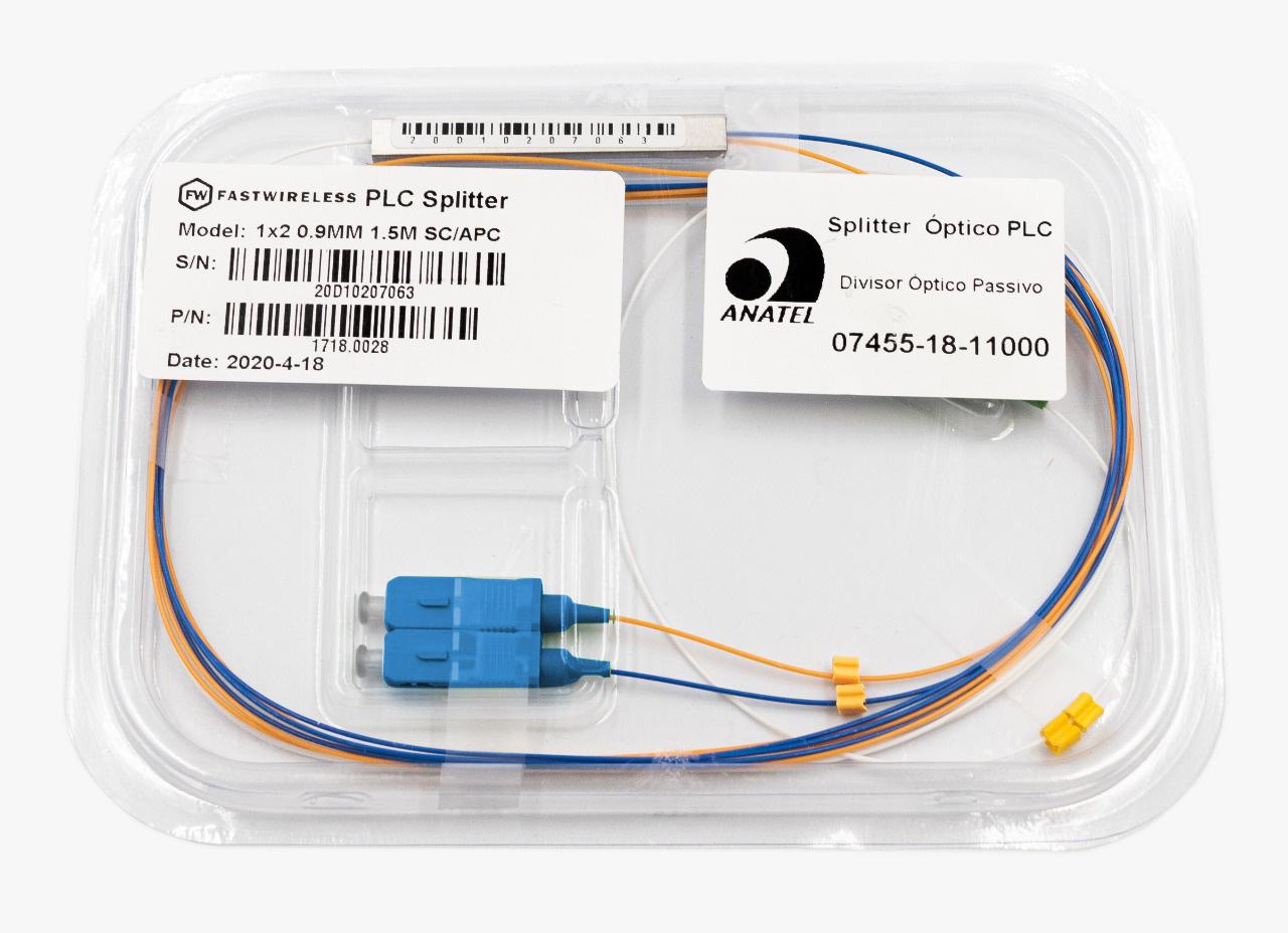 Splitter Óptico PLC 1x2 SC/UPC Azul  - FASTWIRELESS