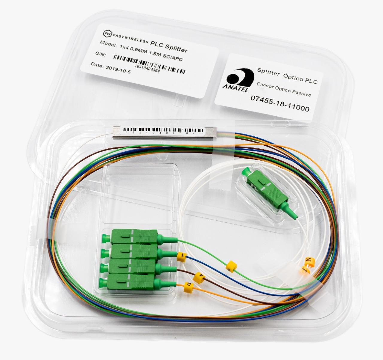 Splitter Óptico PLC 1x4 SC/APC Verde  - FASTWIRELESS