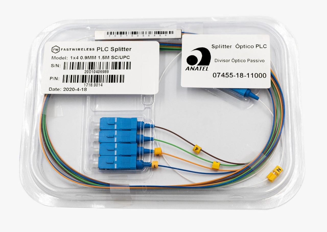 Splitter Óptico PLC 1x4 SC/UPC Azul  - FASTWIRELESS