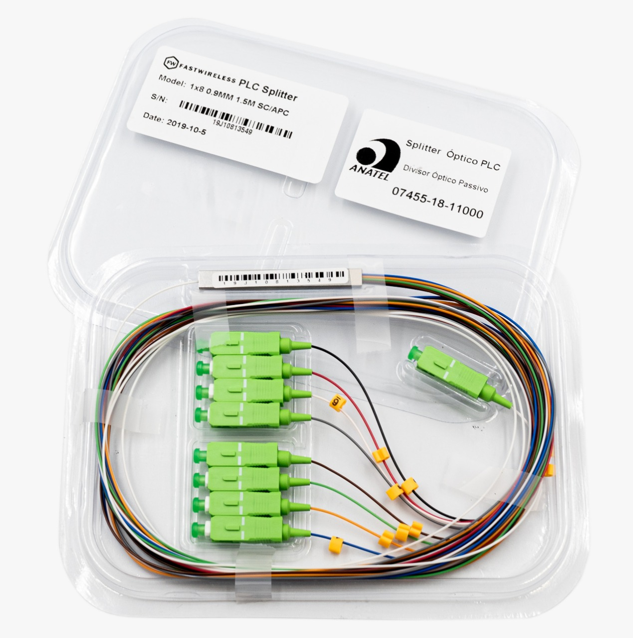 Splitter Óptico PLC 1x8 SC/APC Verde  - FASTWIRELESS