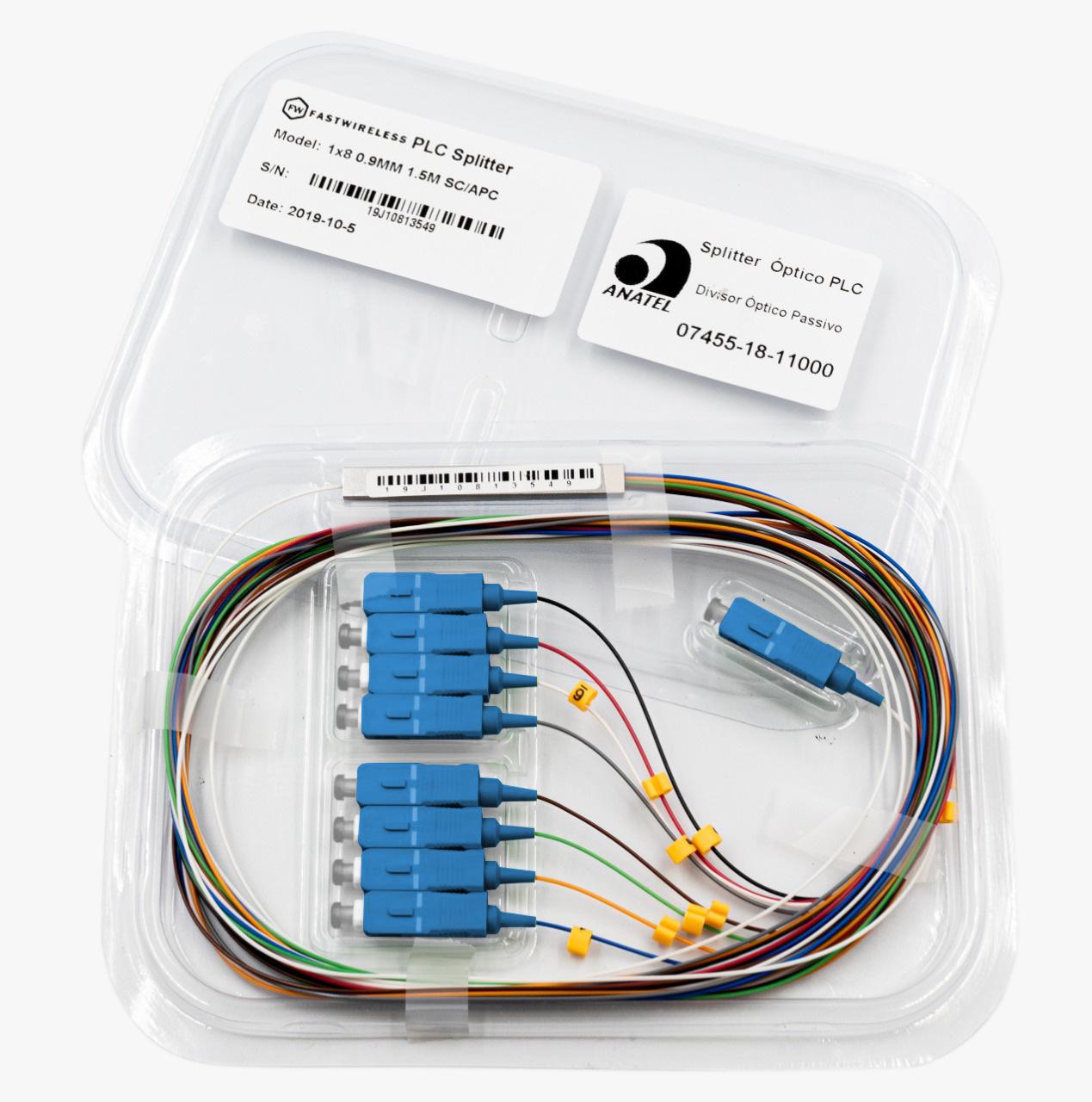 Splitter Óptico PLC 1x8 SC/UPC Azul  - FASTWIRELESS