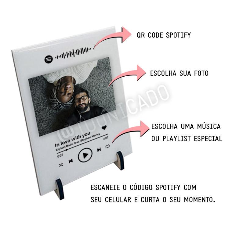 Kit Spotify interativo com placa + fone de ouvido personalizados