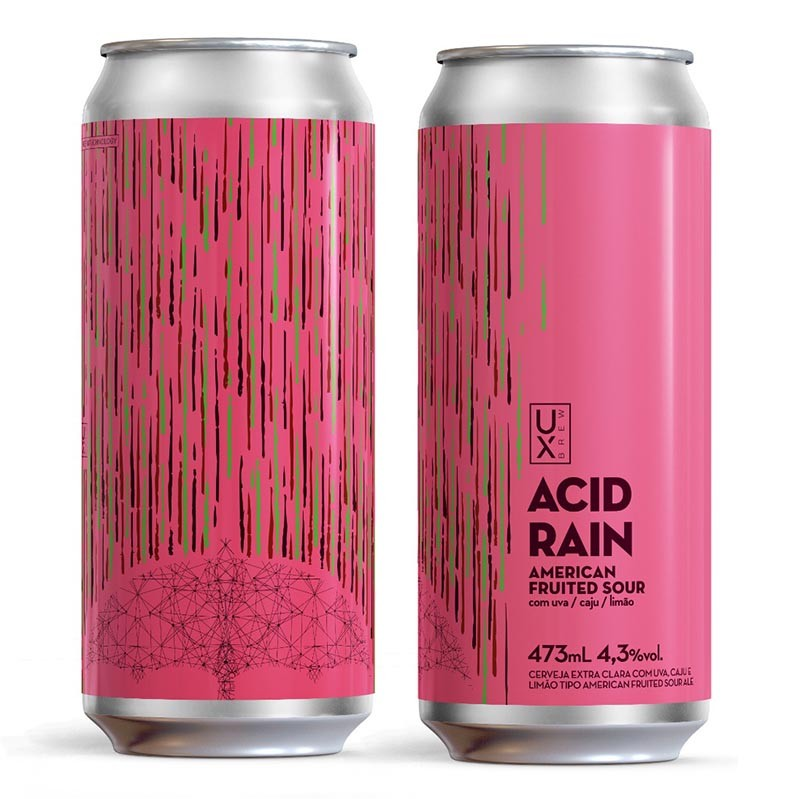 Cerveja Ux Brew Acid Rain Sour Uva/Caju/Limão Lata 473ml