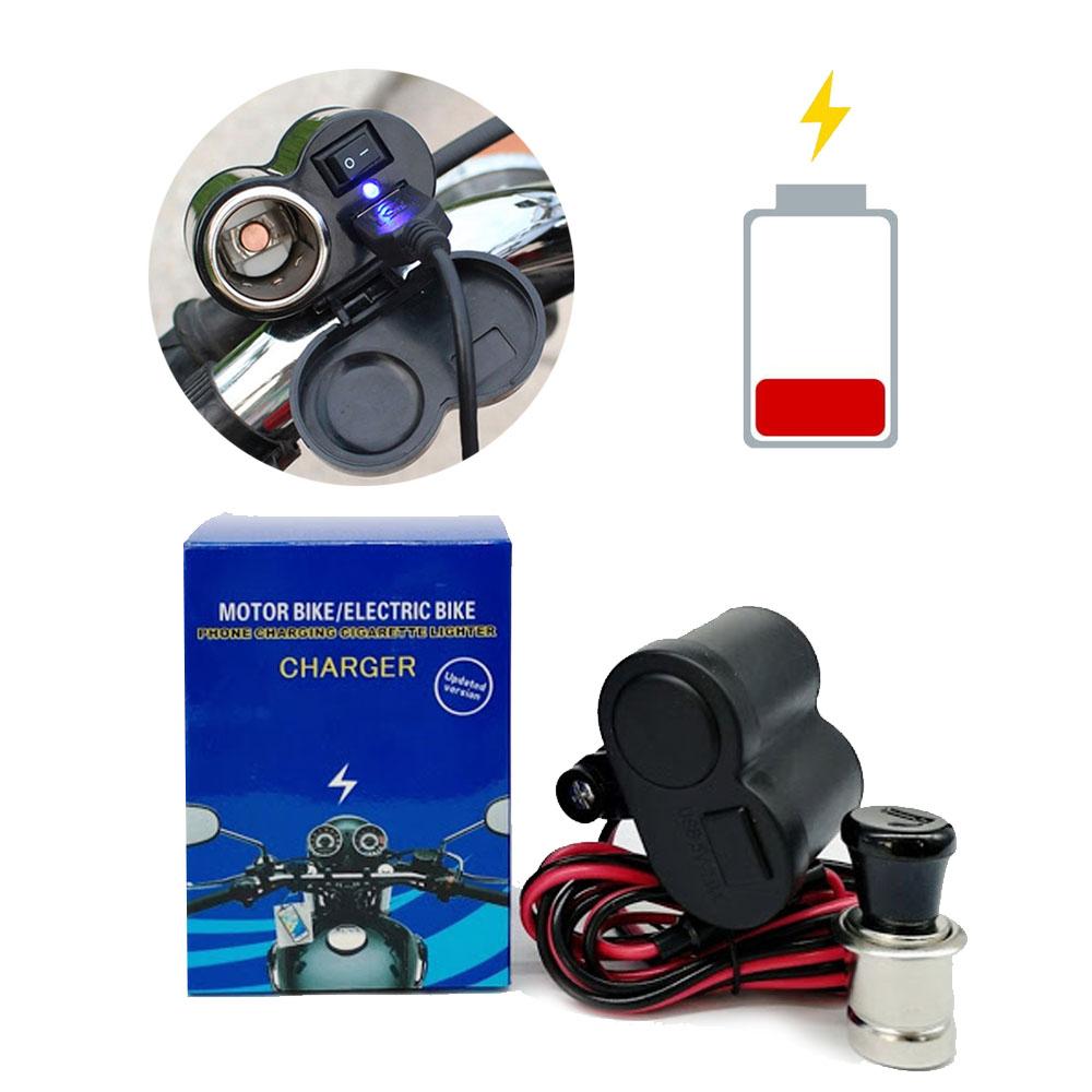 Carregador Adaptador USB (2.1A) e Acendedor para Moto 12V e 24V