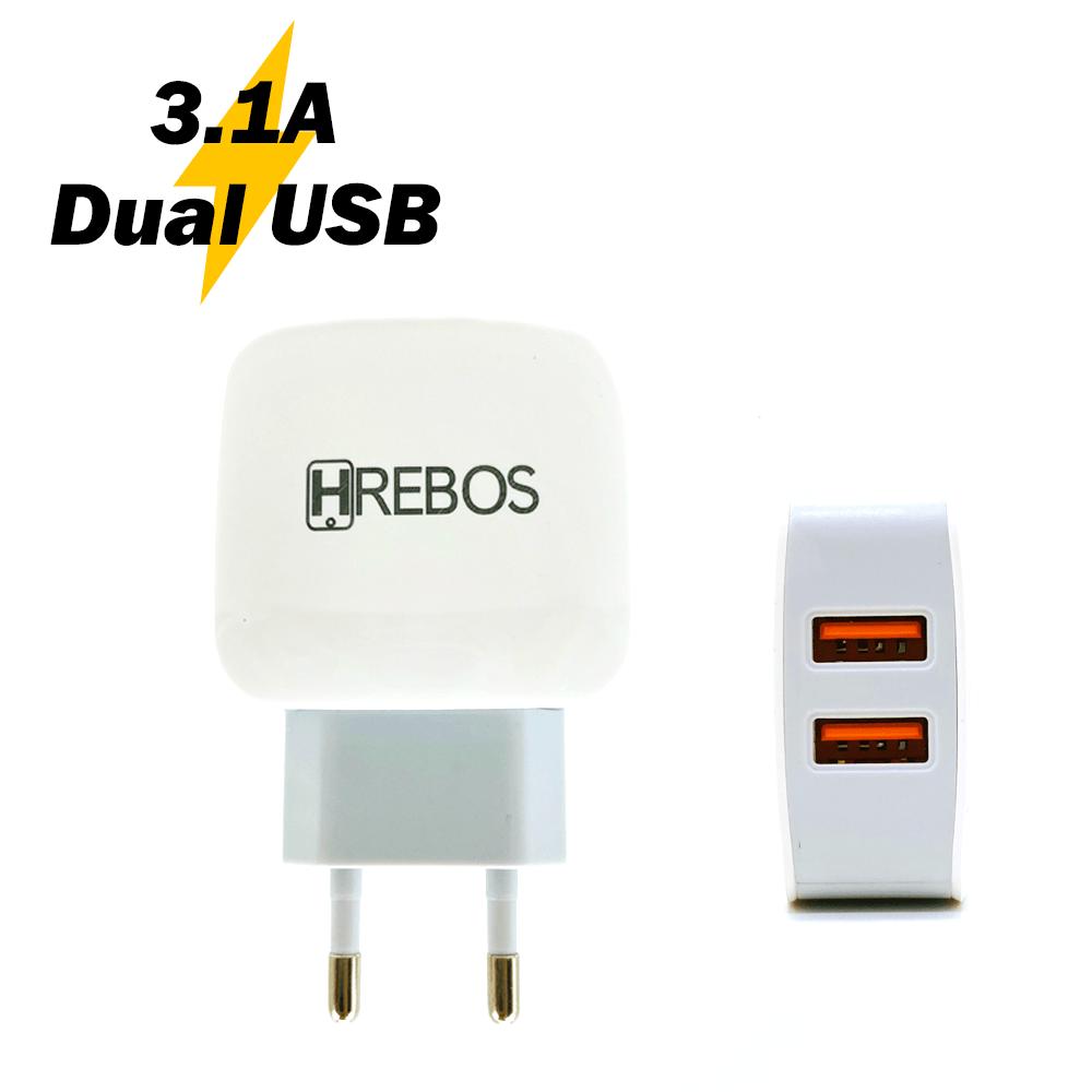 Fonte / Carregador Dual USB 3.1A - Hrebos - HS-66