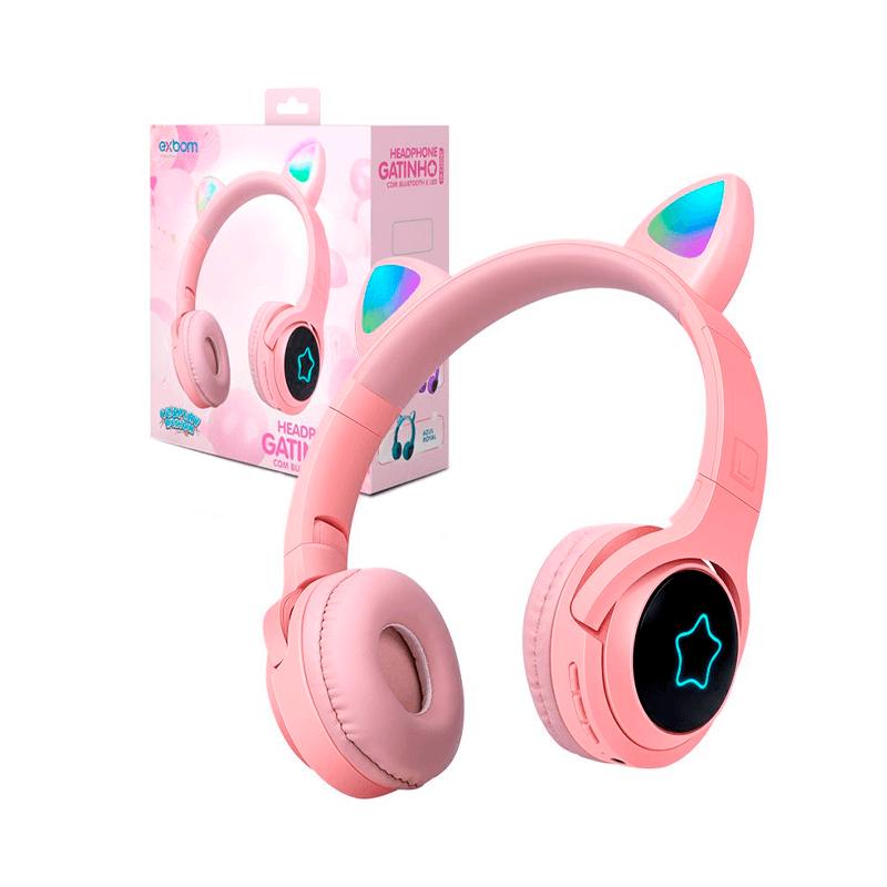 Headphone Bluetooth Orelha de Gato com LED RGB - Exbom - HF-C320BT