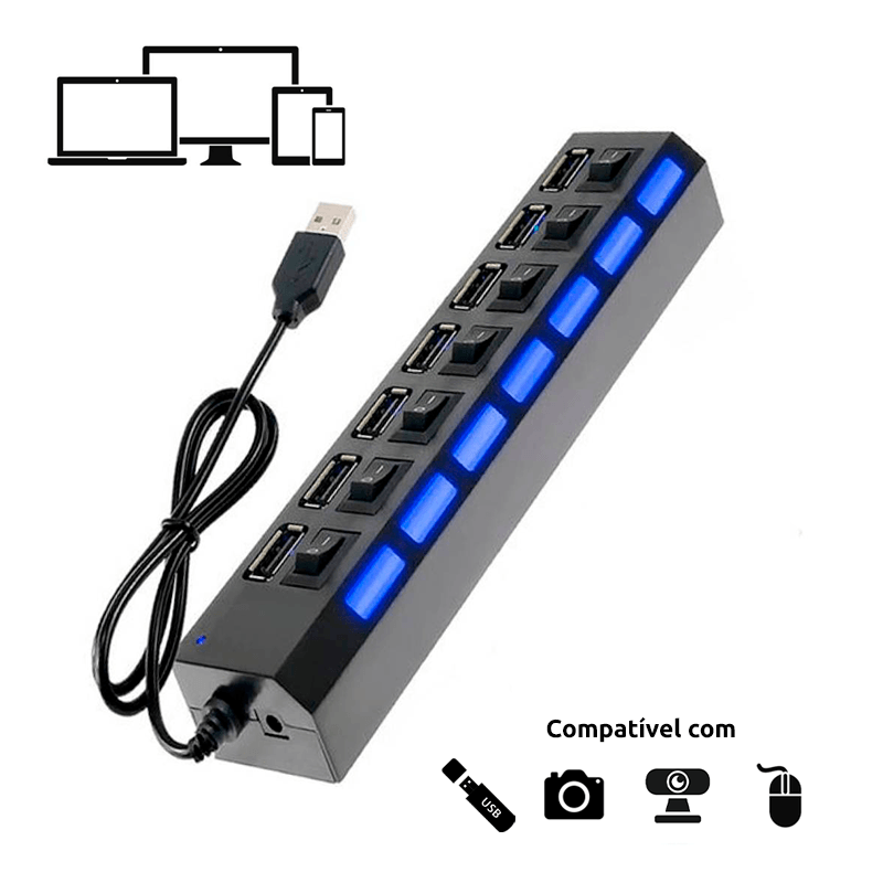 Hub USB 2.0 com 7 Portas - Cores Sortidas