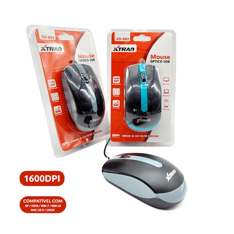 Mouse Óptico USB - XD-602 - Cores Sortidas