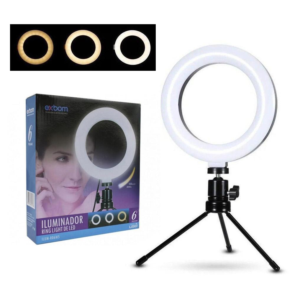 Ring Light 6 Polegadas com Tripé - 48 Leds Dimerizável 3200k a 5600k - Exbom