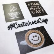 Kit com 4 placas decorativas em mdf -Tema Café Cafeteria