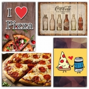 KIT COM 4 PLACAS EM MDF - PIZZA