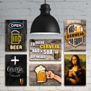 KIT COM 6 PLACAS DECORATIVAS EM MDF - FRASES - BOTECO