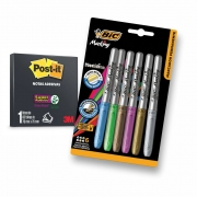 Post-it Preto 3m - 60 Folhas 7,6x7,6cm + 6 Canetas Bic