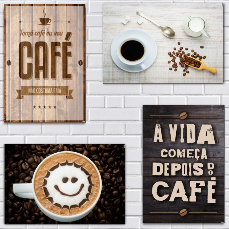 KIT COM 4 PLACAS EM MDF - CAFÉ