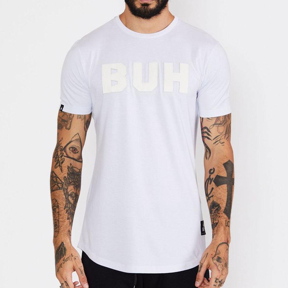 Camiseta Buh Aplique Couro Branca