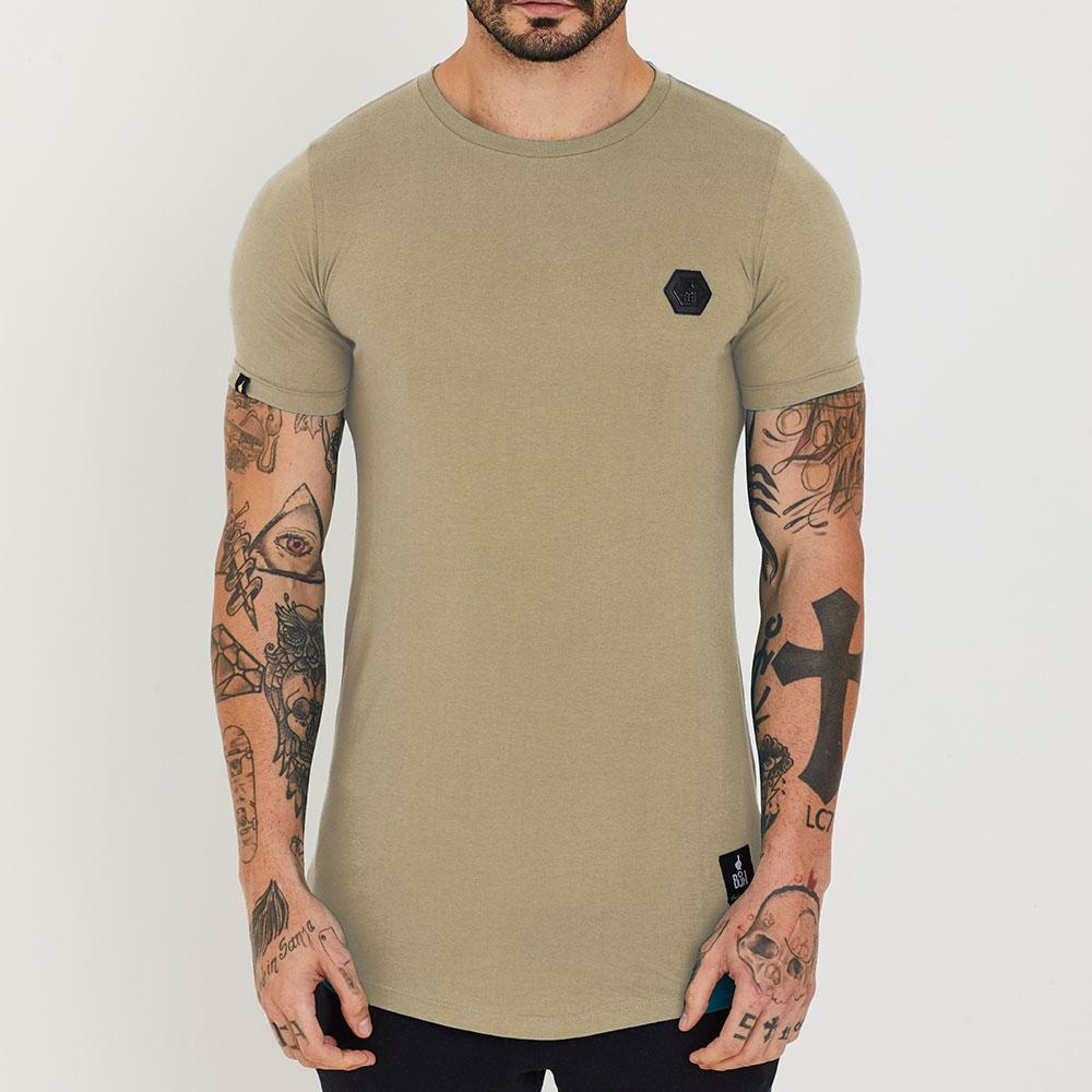 Camiseta Buh Basic Leather Metal Bege