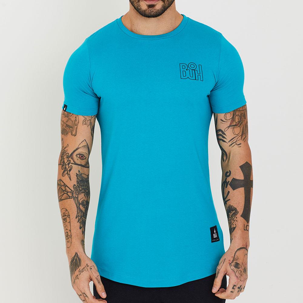 Camiseta Buh Basic Rib Azul Claro