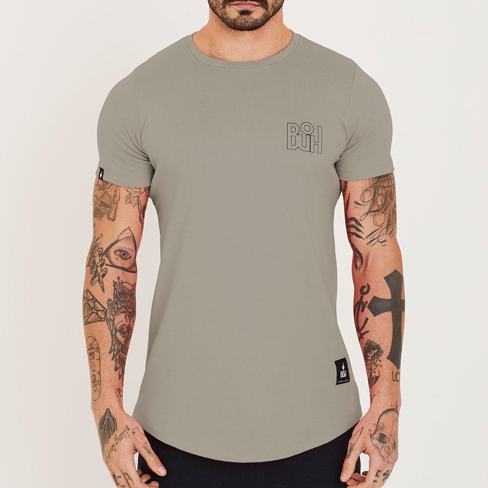 Camiseta Buh Basic Rib Cinza Bege