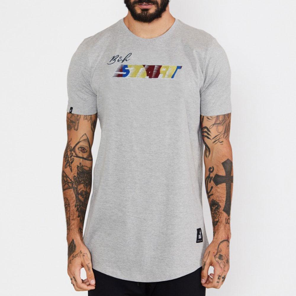 Camiseta Buh Bordado Start Cinza