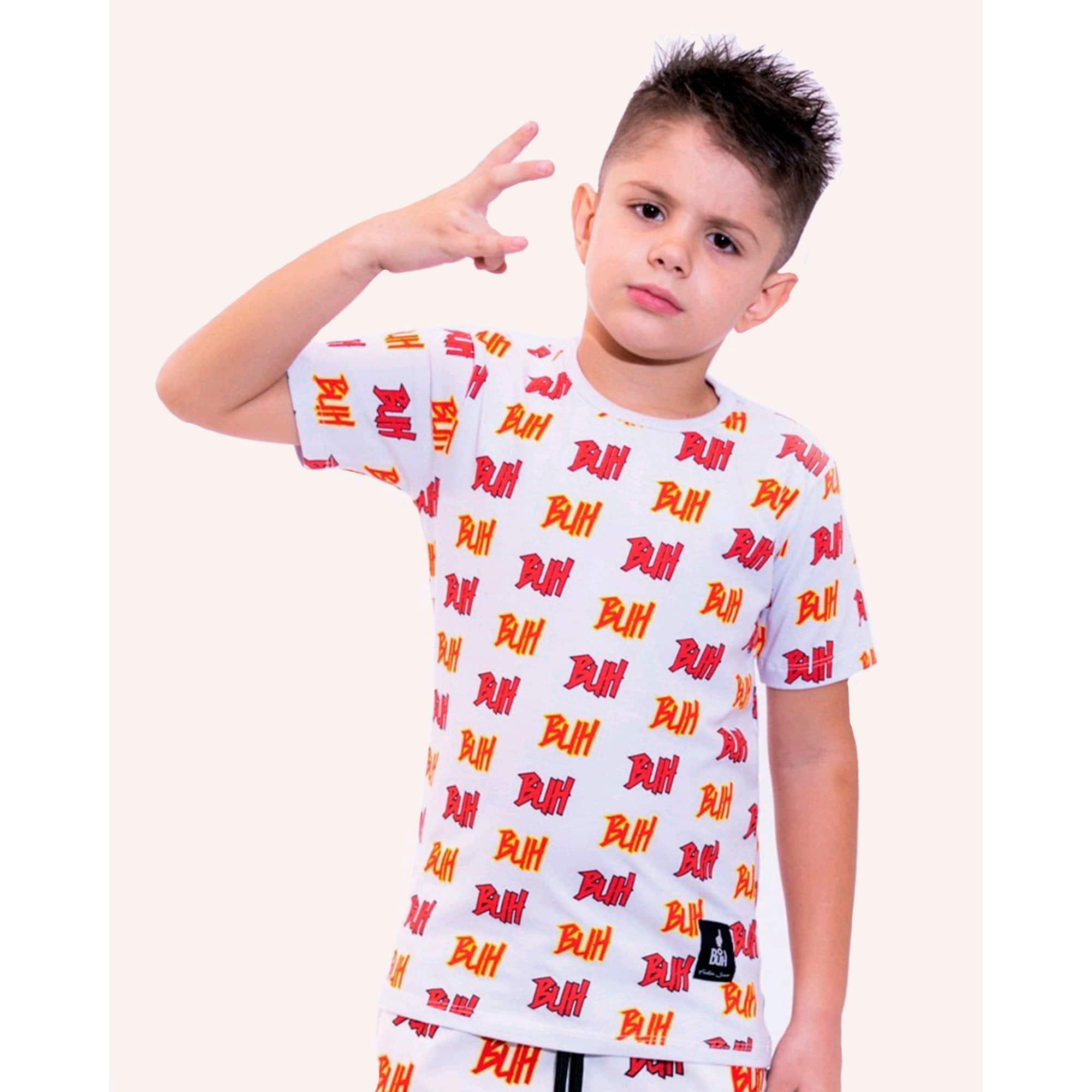 Camiseta Buh Kids Full Logo White