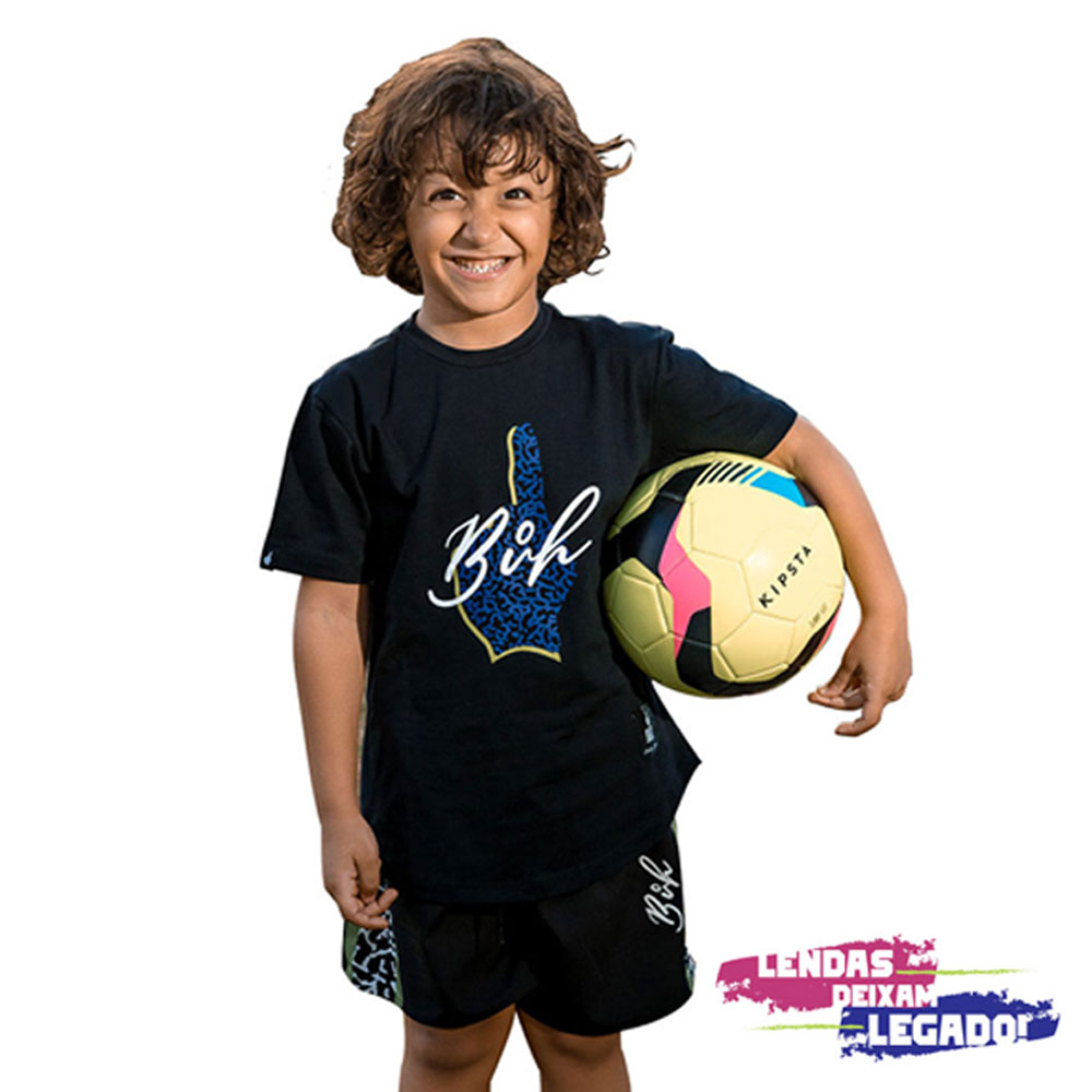 Camiseta Buh Kids Preta Logo Elefante Azul