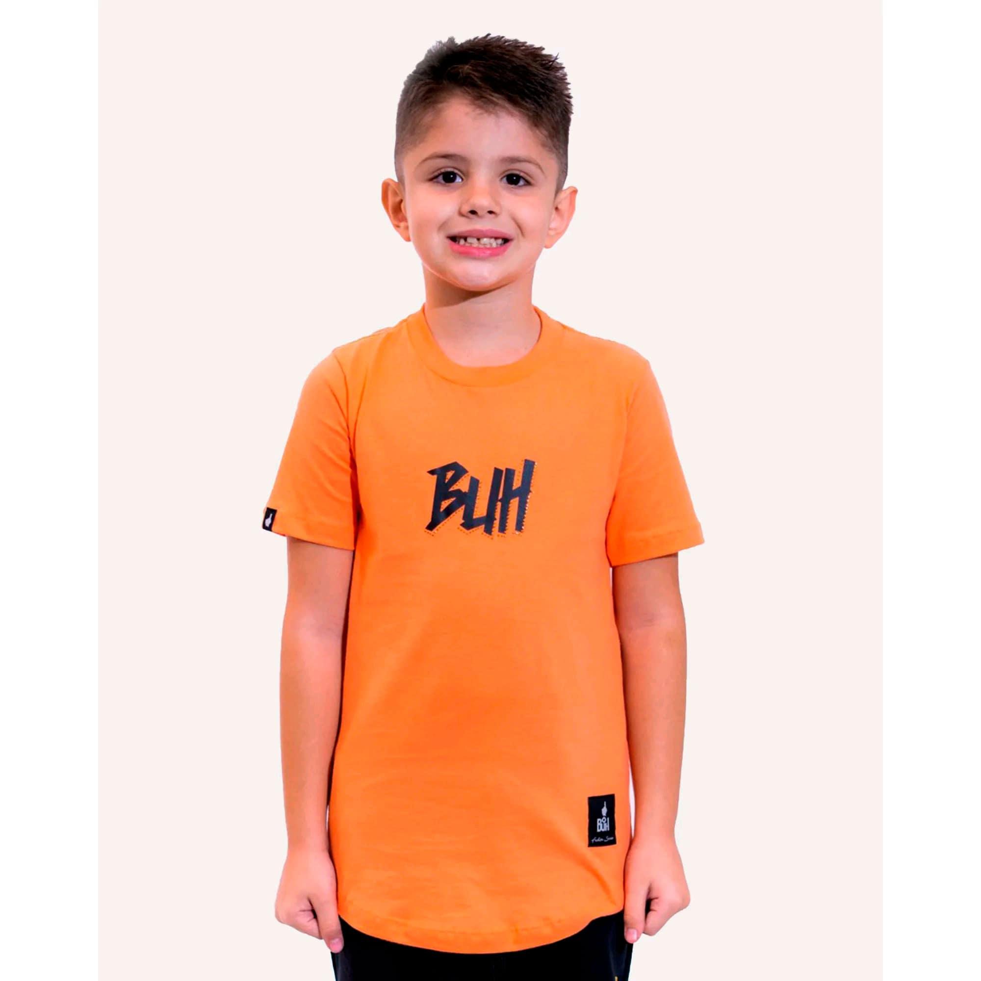 Camiseta Buh Kids Strass Logo Orange